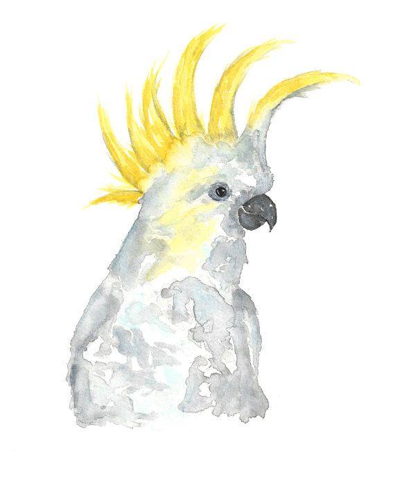 Watercolor parrot art, parrot print, tropical print, cockatoo art, cockatoo…