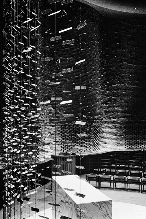 Eero Saarinen and Associates, MIT Chapel (Cambridge, MA, 1950-55), 1956. Interior with illuminated altarpiece screen (1955) by Harry Bertoia From the upcoming book Balthazar Korab: Architect of Photography.