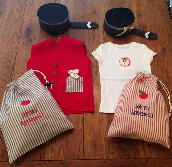 Celebrate Johnny Appleseed with this dress up costume set. You can choose the boy set or girl set. Please indicate the size, or age of child, in the