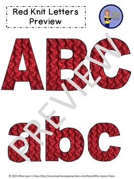 This red knit set of clip art letters by Miss Jeans Class includes punctuation, upper and lowercase letters! These work great for educational and craft purposes. Use them for crafts, lesson plans, work sheets, word walls and decorating bulletin boards.#clipartletters, #knit, #letters