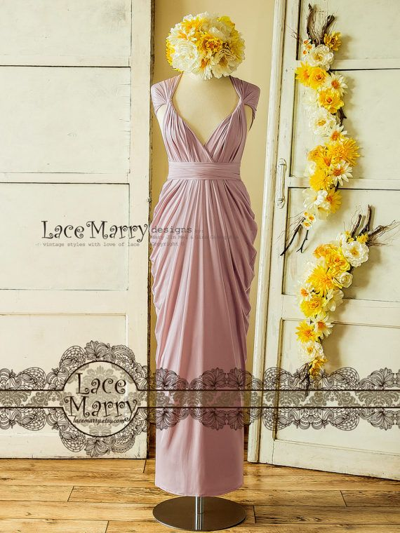 Lavender Pink Convertible Bridesmaid Dress with Twist and Wrap