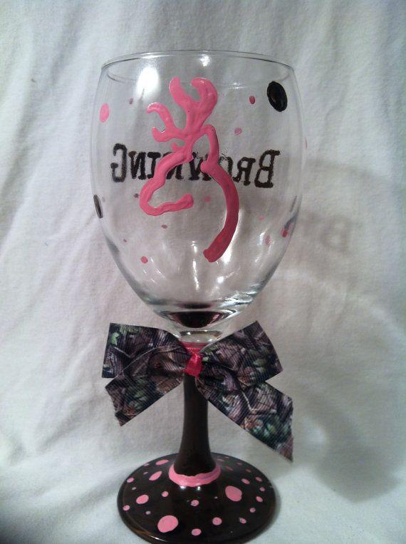 Hand Painted Wine Glass, Painted Wine Glass, Wine Glass, Hunting Wine Glass, Browning Wine Glass