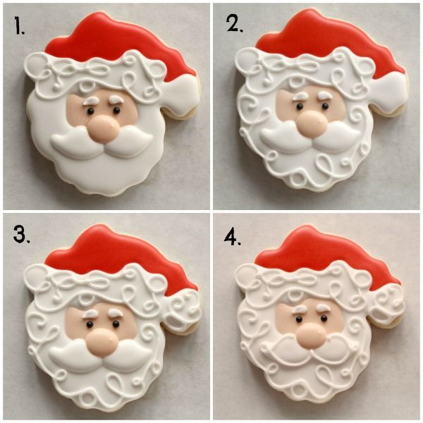 Decorated Santa Cookies 5. Next, use 20-second icing to add a mustache.  You can do this in one section if you like.  Decorated Santa Cookie 3 [Pin on Pinterest] Clean up the design with a piped detail.  Using a #1.5 tip start with the fur trim, move to the beard, add a ball to Santa's hat, and finish up with a little mustache swirl.