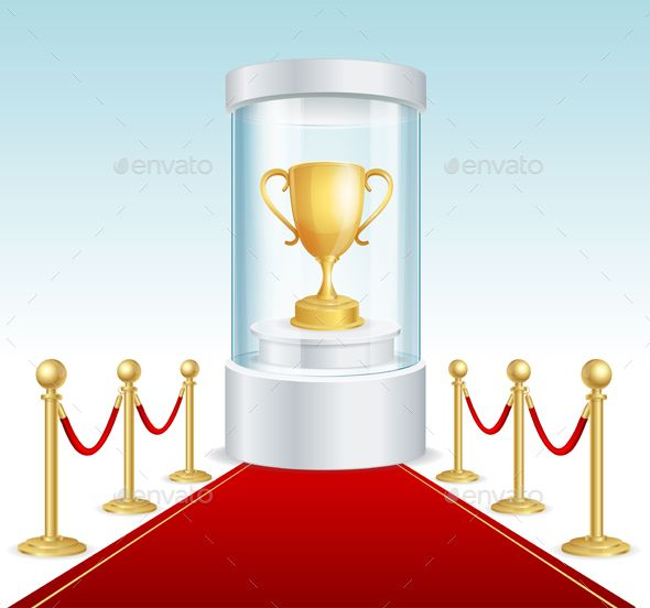 Round Glass Showcase with Golden Cup. Vector