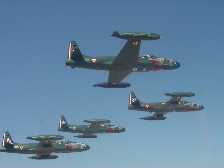 """Formation flight Sunday. """"A formation of Mexican Air Force Lockheed T-33 Shooting Stars."""""""