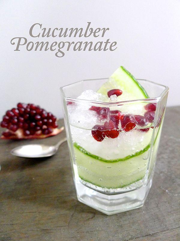 Festive color palette! Cucumber Pomegranate Cocktail