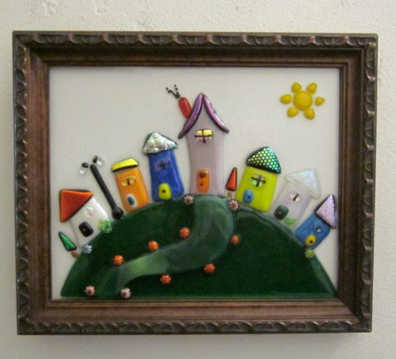Fused Glass Whimsical Houses on the Hill by outofourgourds on Etsy, $75.00