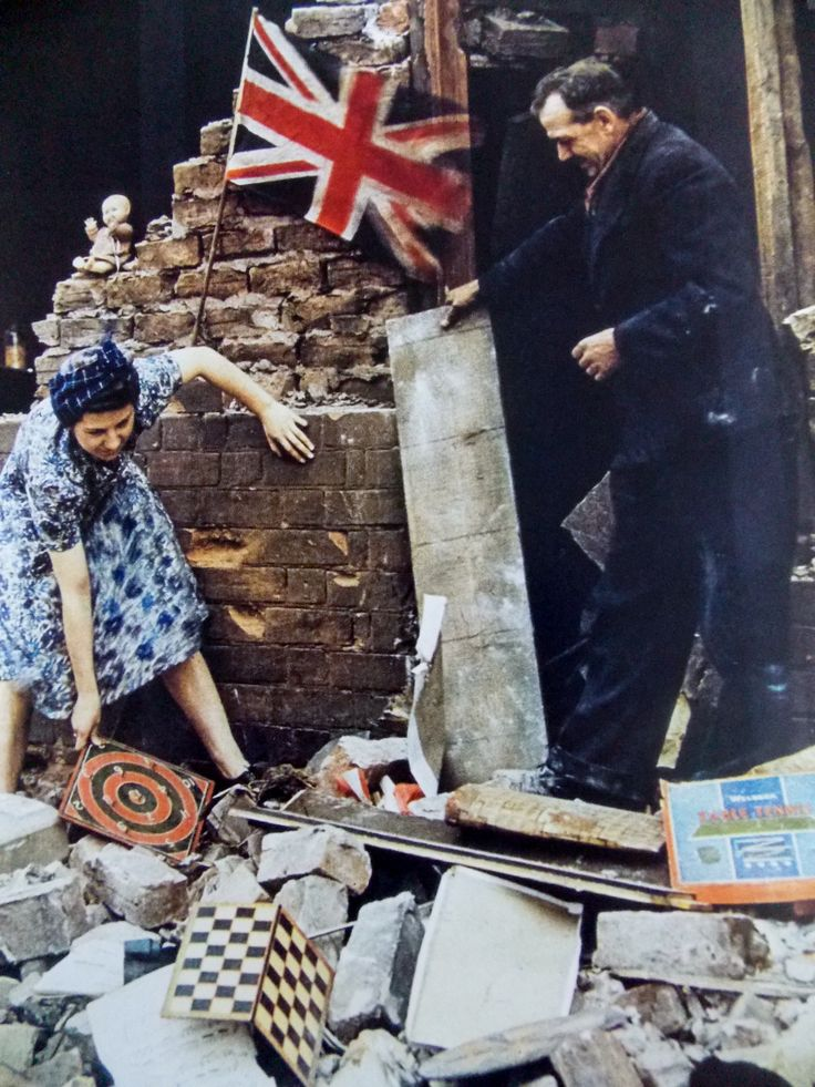 London in WW2, a woman rescues her belongings from her bombed house