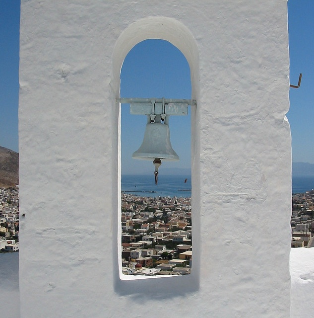 """Bell tower at the Castle of Chrysocheria, looking towards Pothia harbour"" #Kalymnos #Island #Greece"