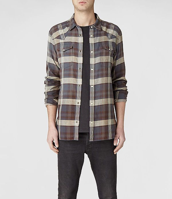 Mens Ridgeway Shirt (Oxblood/V.Ink) | ALLSAINTS.com