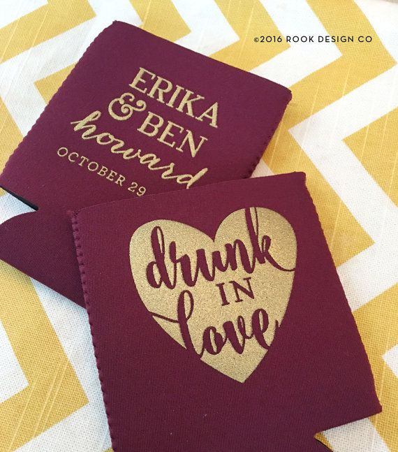 Wedding Coosie Drunk in Love wedding can cooler by RookDesignCo