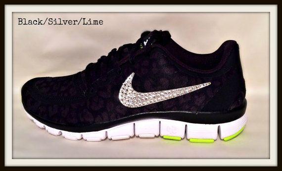 Women's Nike Free 5.0 v4 with Swarovski swoosh Black/Silver/Lime