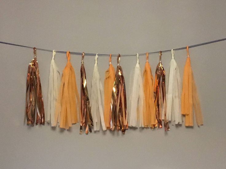 Rose Gold, Cream, Orange Tassel Garland. Thanksgiving Decor. Pumpkin First Birthday. Tissue Paper Garland. Paper Rabbit. by PaperRabbit87 on Etsy