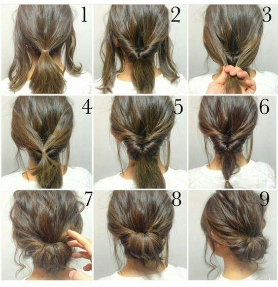 Pour faire un chignon bas si vous avez les cheveux mi-longs: | Des graphiques qui aideront toutes les filles nulles en coiffure