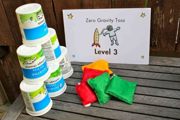 "really great space party with lots of good game ideas and downloads.  need to remember the ""anti-gravity toss"" game."