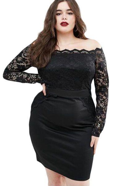 Chicloth Black Off Shoulder Plus Lace Dress