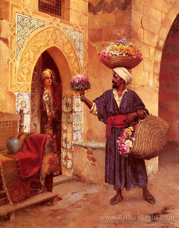 Le Marchand De Fleurs, The Flower Merchant oil painting by Rudolf Ernst