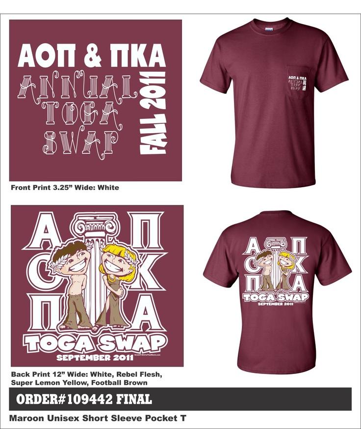 Alpha Omicron Pi & Pi Kappa Alpha Annual Toga Swap  http://www.greekt-shirtsthatrock.com/