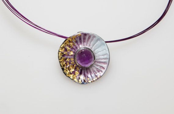Sterling Silver Pendant with Amethyst Birthstone, Purple Enamel, February Birthstone, Purple Amethyst, Amethyst Gemstone, Giampouras €157.70 #amethyst #gemstone #february #birthstone