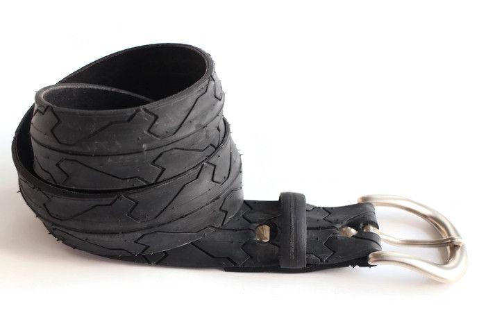 Upcycled black aztec tyre belt by Laura Zabo