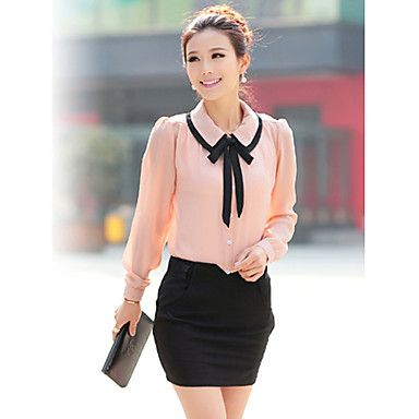 omg YES Women's Cute Contrast Bow Collar Half Sleeve Shirt 2016 – $8.99