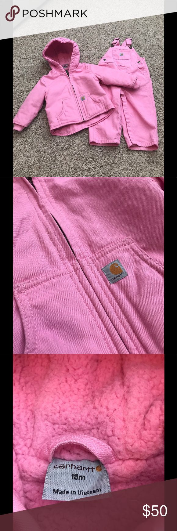 NWOT Pink Carhartt Overalls & Hooded Jacket Set NWOT Pink Carhartt Overalls & Hooded Jacket Set. Jacket is seeps lined for extra warmth and overalls have snap crotch for easy diaper changing. Never worn, but tags were removed. No trades please. Open to all reasonable offers. Carhartt Matching Sets
