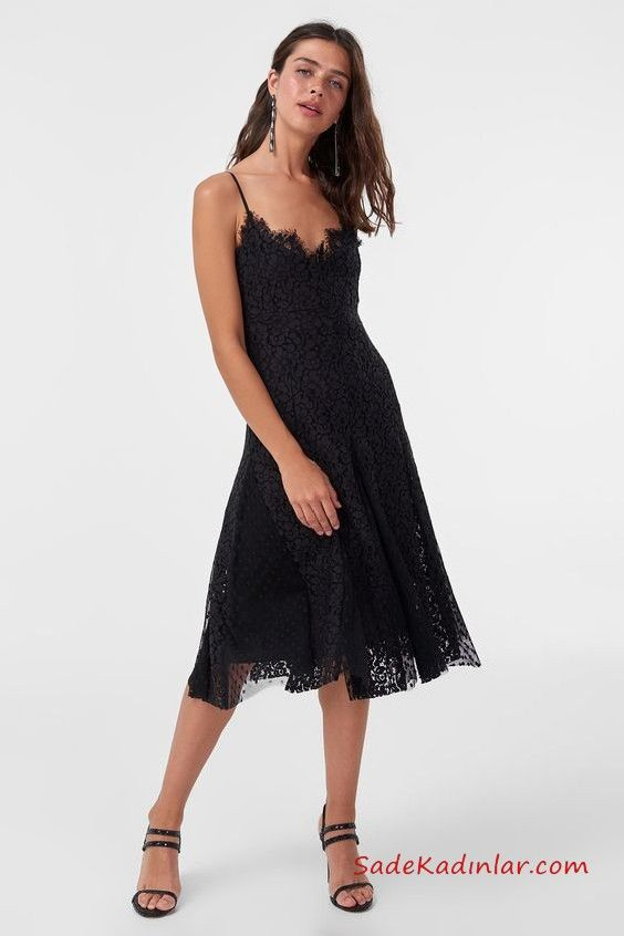 Siyah Dantel Elbise Modelleri Siyah Midi İp Askılı Kloş Etekli  siyahabiye   promdresses  eveningdress  dresses  lacedress  lace adc84b4b1f