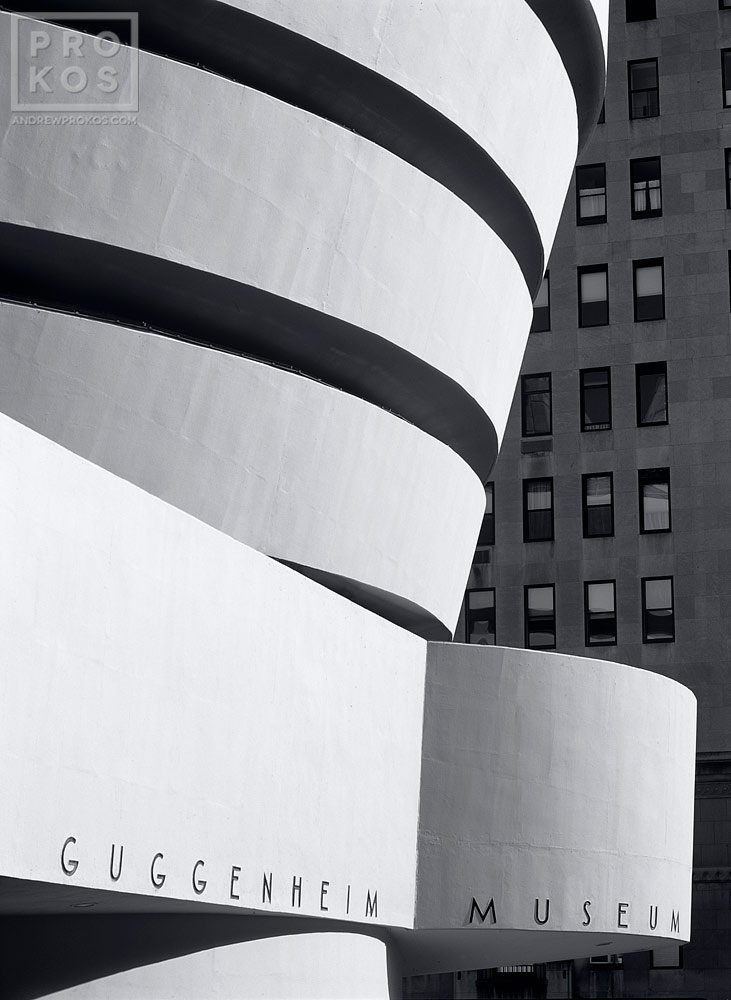Fine art photo of the Guggenheim Museum in New York City in black and white