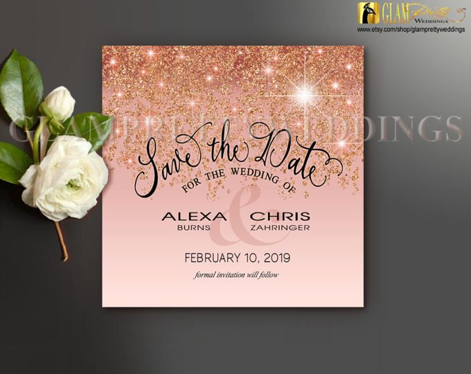 Rose Gold Glitter Save the Date Card - Pastel Glam Copper Bronze Faux Sparkle Glitter - DIY Printable or Printed File - Style Name: ALICIA