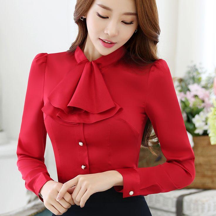 Cuello rizado ocasionales de las mujeres de la blusa femenina elegante camisa rosada de las señoras del ajustado de las tapas desgaste de la oficina de señora OL de la nueva manera del otoño