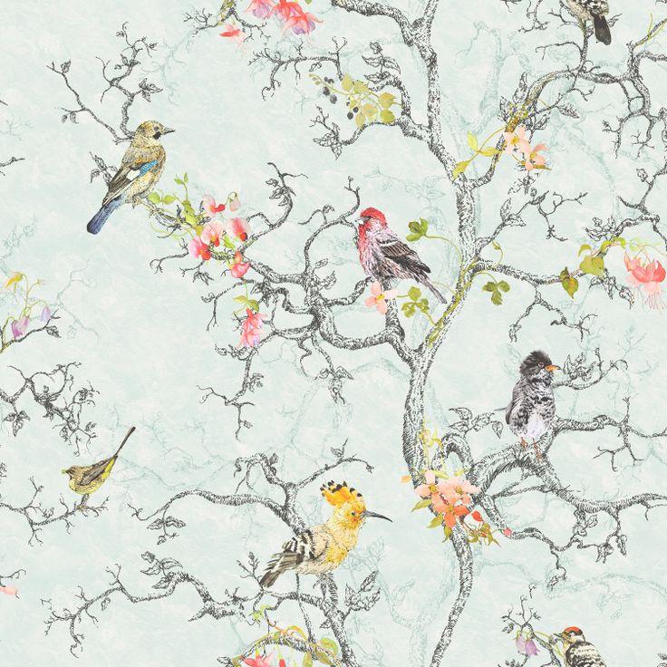 Birdwatch - Duck Egg : Wallpaper and wallcoverings from Holden Decor Ltd.