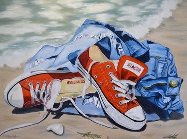 "Saatchi Art Artist Janet Bendyna; Painting, ""ALL STAR CHUCKS"" #art"