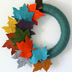 Fall wreaths- use DIY wreath foam from Lowes (see other pin) and wrap the yarn tightly around the foam core. Use silk or felt flowers from $ Tree or Oriental Trading and hot glue them!  -Laylan, Whiteman LWC