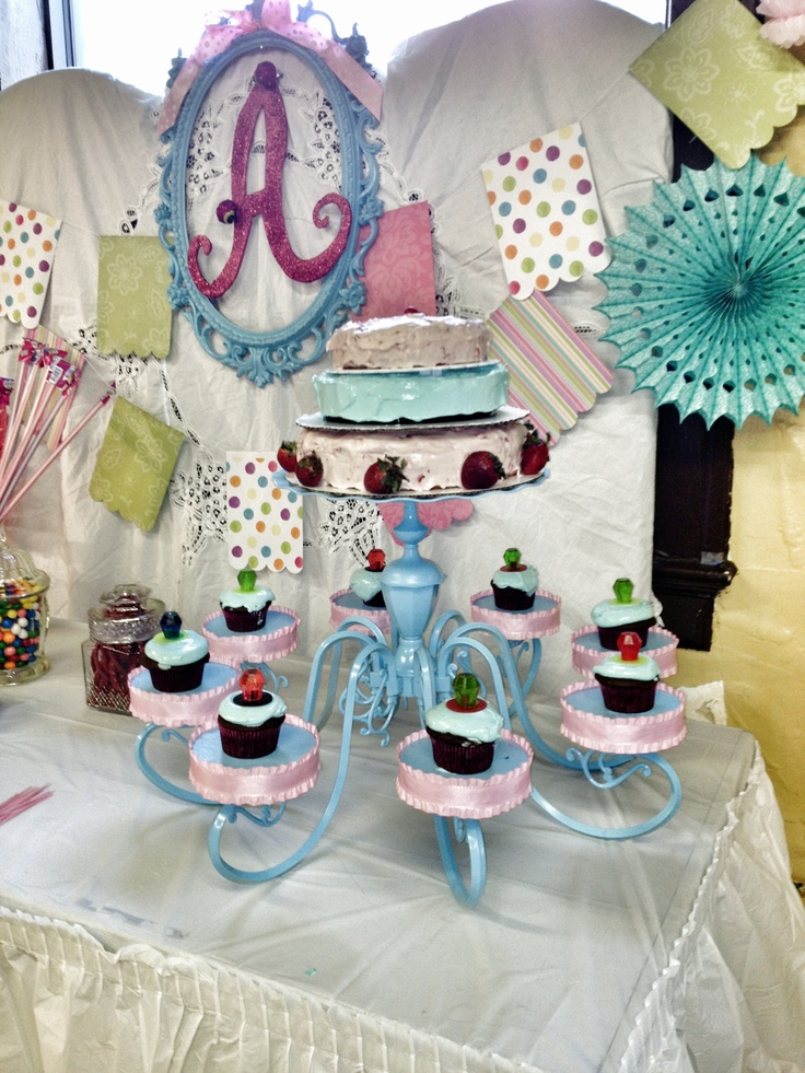 Old chandelier repurposed into cake dessert stand for for Recycle and redesign ideas