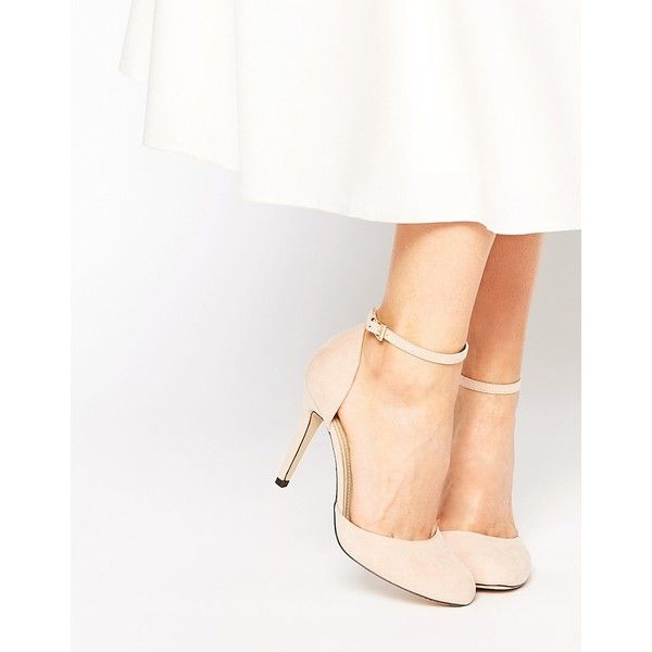 Blink Ankle Strap Heeled Shoes ($32) ❤ liked on Polyvore featuring shoes, pumps, nude, round cap, heels stilettos, ankle strap shoes, ankle strap pumps and high heels stilettos