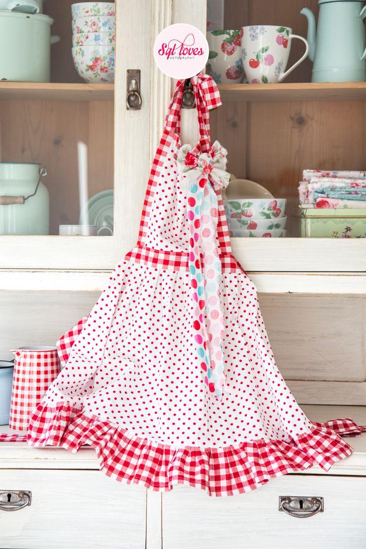 White apron gurgaon - Syl Loves Friends Retro Apron Happy Kitchen Polkadot Gingham Red White