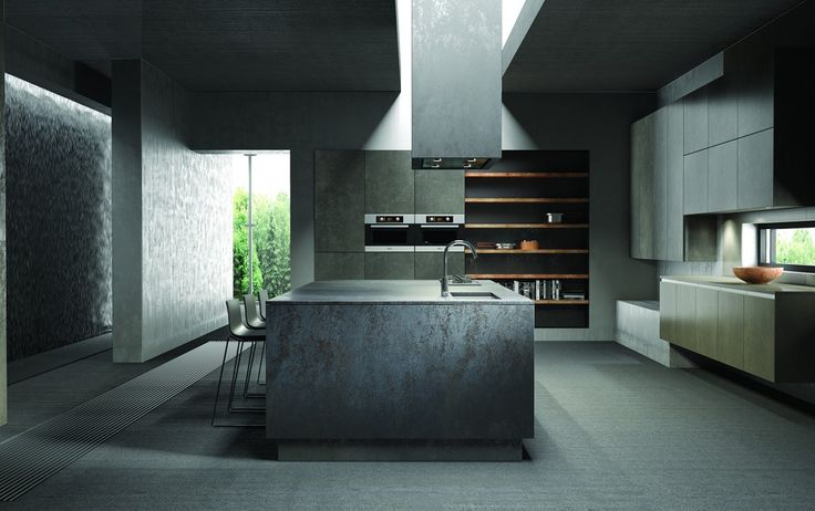 Island and worktop in ceramic iron grey finish.