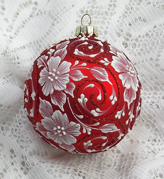 Red Hand Painted 3D White MUD Textured Floral by MargotTheMUDLady, $35.00