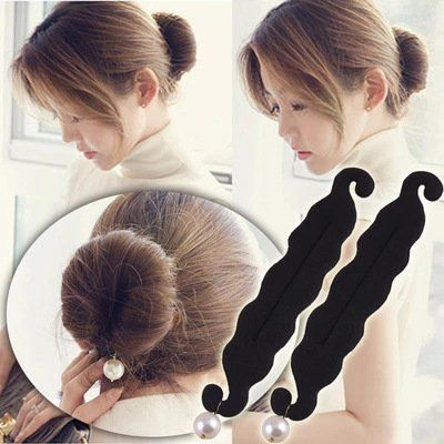 Akak Store 2 Pcs Elegant Pearl Magic French Twist Bun Maker Clip Hook Holder Magic Beauty Hair Hairstyle Foam Sponge Donut Maker Ponytail Bun Maker Twister Hairstyle Styling Tool Accessories -- Check out this great product.(This is an Amazon affiliate link and I receive a commission for the sales) #BunandCrownShapers