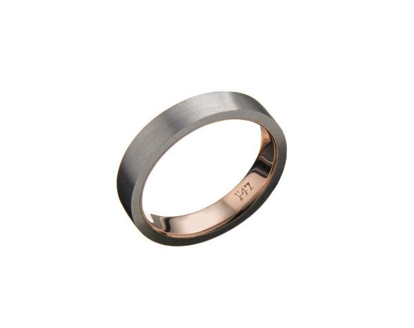 Stainless steel outer band remade from AK47 steel with 18Kt rose gold inner band.Available in 18Kt gold and platinum. Price is for single ring (2x for pair).