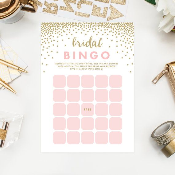 Printable Confetti Shower Bridal Bingo Cards by fineanddandypaperie - bridal shower games