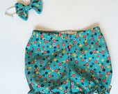 Baby Bloomers/Bubble Shorts and Headband Set Blue/Red/Yellow Floral by Lottie and Me Baby Wear