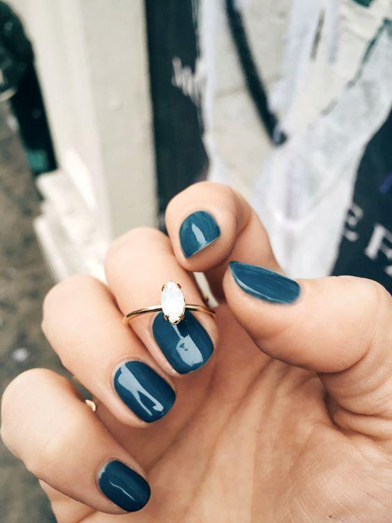 @bingbangnyc - blue nails and dainty opal ring ❤️