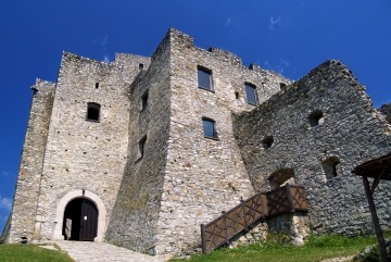 Summer view of main entrance to the Strecno Castle near Zilina town, Slovakia.