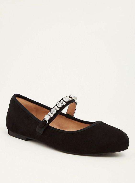 adda8fa3e24fd Plus Size Faux Suede Rhinestone Strap Ballerina Flats (Wide Width)
