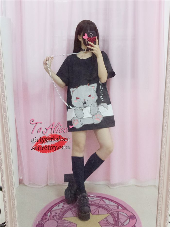 Cute Clothes Dress on Girly Girl の To Alice.Kawaii Cat Rabbit Choker Dress Cute Japan Patchwork Shirt Gg467 catches up with the Girly Girl style.Get yourself ready to look fashion.Don't miss it.