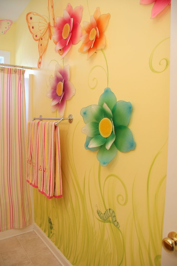 15 best girls bathroom images on pinterest dream bathrooms flower bathroom mural for a little girl or teenager mae and kay
