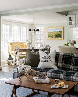 Love this! Light and bright, it has pattern and character without being too busy. I would choose another color for the couch. Wellesley Colonial / Hudson Interior Design