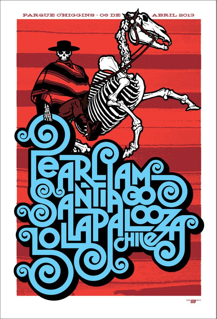 Tonight's Pearl Jam Poster from Santiago Chile by Ames Bros