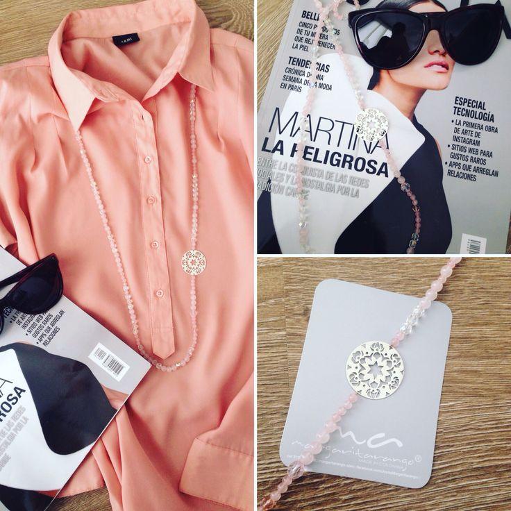 Collar en cuarzo rosado y placa en plata hecha a mano